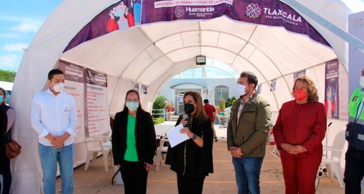 Inaugura Lorena Cuéllar kioscos de oxígeno gratuito en Huamantla y Apizaco