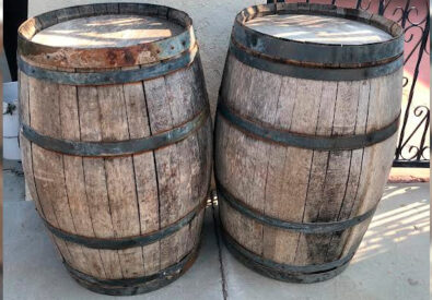 Two old wine barrels